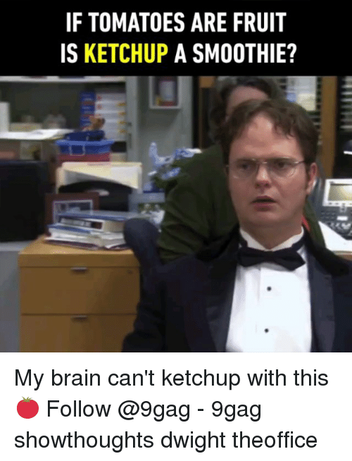 9gag, Memes, and Brain: IF TOMATOES ARE FRUIT  IS KETCHUP A SMOOTHIE? My brain can't ketchup with this 🍅 Follow @9gag - 9gag showthoughts dwight theoffice