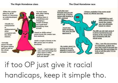 Racial: if too OP just give it racial handicaps, keep it simple tho.