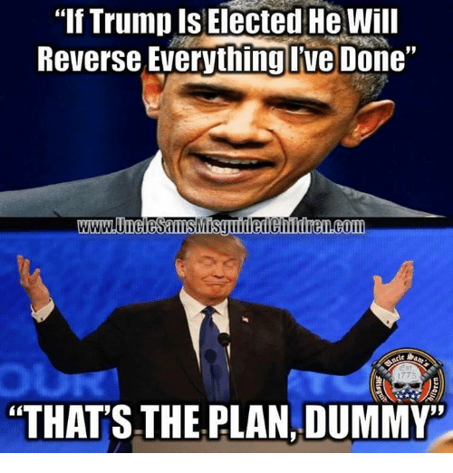 """Dummie: """"If Trump Is Elected He will  Reverse Everything Ive Done""""  """"THATS.THE PLAN, DUMMY"""