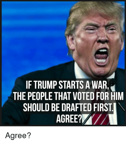 Memes, Trump, and 🤖: IF TRUMP STARTS A WAR  THE PEOPLE THAT VOTED FOR HIM  SHOULD BE DRAFTED FIRST.  AGREE/ Agree?
