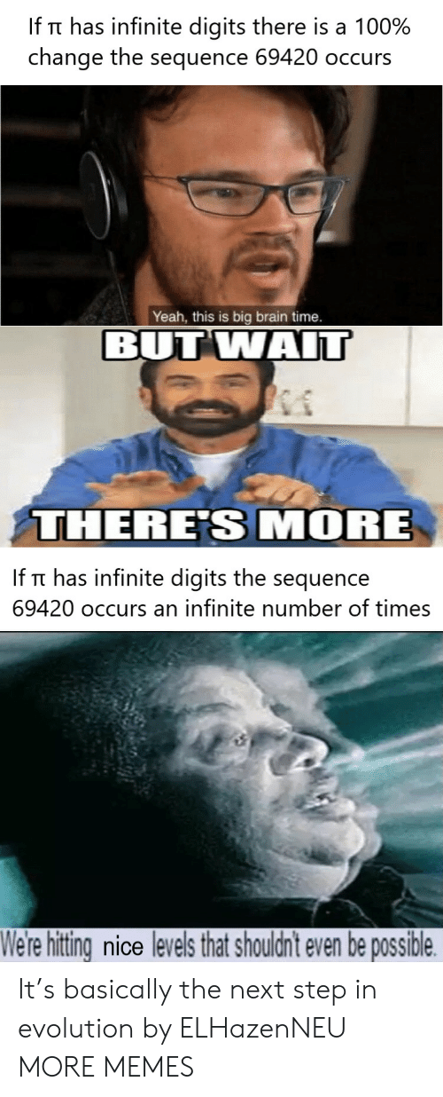 the next step: If Tt has infinite digits there is a 100%  change the sequence 69420 occurs  Yeah, this is big brain time.  BUT WAIT  THERE'S MORE  If Tt has infinite digits the sequence  69420 occurs an infinite number of times  We're hitting nice levels that shouldn't even be possible It's basically the next step in evolution by ELHazenNEU MORE MEMES