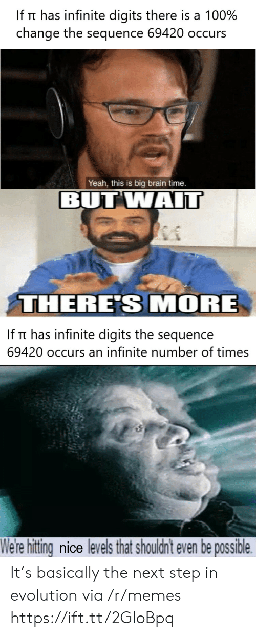 the next step: If Tt has infinite digits there is a 100%  change the sequence 69420 occurs  Yeah, this is big brain time.  BUT WAIT  THERE'S MORE  If Tt has infinite digits the sequence  69420 occurs an infinite number of times  We're hitting nice levels that shouldn't even be possible It's basically the next step in evolution via /r/memes https://ift.tt/2GIoBpq