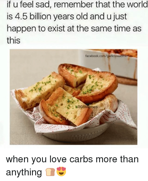 Facebook, Love, and facebook.com: if u feel sad, remember that the world  is 4.5 billion years old and ujust  happen to exist at the same time as  this  facebook.com/garlicbreadhtemes  GBMemes when you love carbs more than anything 🍞😍