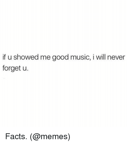 Facts, Memes, and Music: if u showed me good music, i will never  forget u. Facts. (@memes)