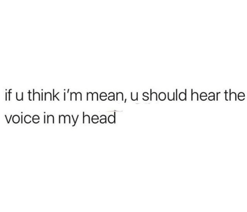 the voice: if u think i'm mean, u should hear the  voice in my head