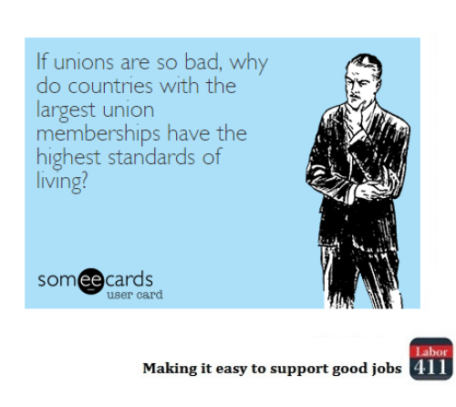 Ee Cards: If unions are so bad, why  do countries with the  largest union  memberships have the  highest standards of  living?  ee  cards  user card  Labor  All  Making it easy to support good jobs