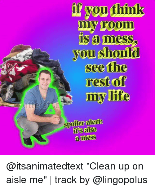 """Life, Memes, and 🤖: if vou think  my room  is amess  you should  see the  rest of  my life  spoiler alert  it's also  a mess  amesS @itsanimatedtext """"Clean up on aisle me"""" 