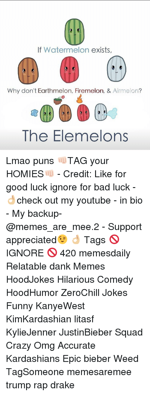 Firemelon: If Watermelon  exists,  Why don't Earthmelon, Firemelon, &  Aime on  The Elemelons Lmao puns 👊🏻TAG your HOMIES👊🏻 - Credit: Like for good luck ignore for bad luck - 👌🏼check out my youtube - in bio - My backup- @memes_are_mee.2 - Support appreciated😉 👌🏼 Tags 🚫 IGNORE 🚫 420 memesdaily Relatable dank Memes HoodJokes Hilarious Comedy HoodHumor ZeroChill Jokes Funny KanyeWest KimKardashian litasf KylieJenner JustinBieber Squad Crazy Omg Accurate Kardashians Epic bieber Weed TagSomeone memesaremee trump rap drake
