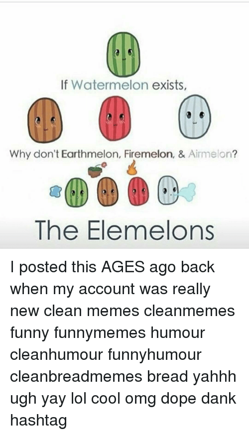 Firemelon: If Watermelon exists,  Why don't Earthmelon, Firemelon, & Airmelon  The Elemelons I posted this AGES ago back when my account was really new clean memes cleanmemes funny funnymemes humour cleanhumour funnyhumour cleanbreadmemes bread yahhh ugh yay lol cool omg dope dank hashtag