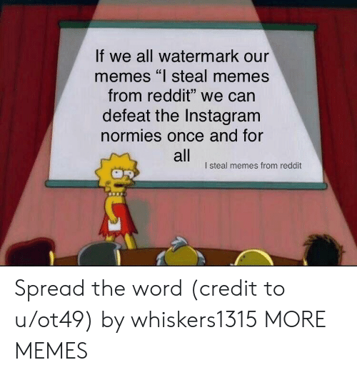 "watermark: If we all watermark our  memes ""l steal memes  from reddit"" we can  defeat the Instagram  normies once and for  all  I steal memes from reddit Spread the word (credit to u/ot49) by whiskers1315 MORE MEMES"