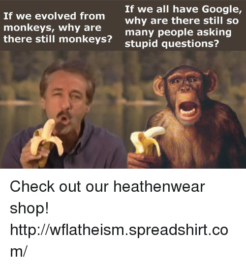 stupid questions: If we evolved from  monkeys, why are  there still monkeys?  If we all have Google,  why are there still so  many people asking  stupid questions? Check out our heathenwear shop! http://wflatheism.spreadshirt.com/