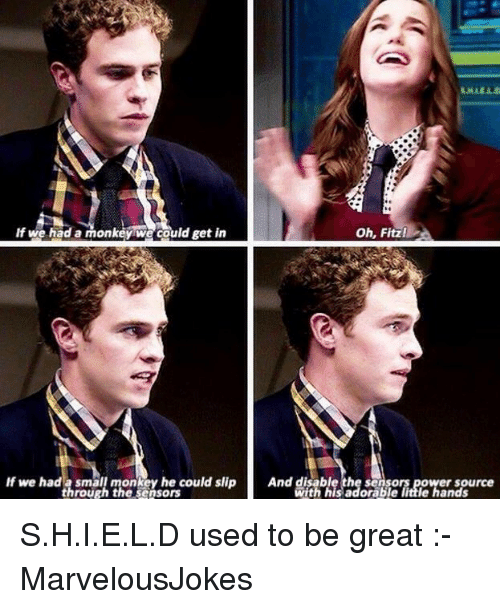 fitz: If we had a monkey we could get in  oh, Fitz  If we had a small monkey he could slip And disable the sensors power source  through the sensors  ith his adorable little hands S.H.I.E.L.D used to be great :- MarvelousJokes