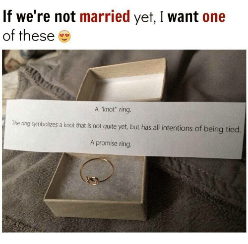 """A Promise Ring: If we're not married yet, I want one  of these  A """"knot"""" ring.  The ring symbolizes a knot that is not quite y  but has all intentions of being tied.  A promise ring."""