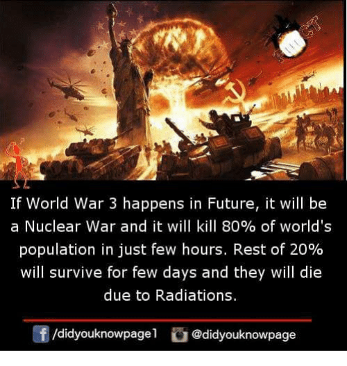 nuclear war: If World War 3 happens in Future, it will be  a Nuclear war and it will kill 80% of world's  population in just few hours. Rest of 20%  will survive for few days and they will die  due to Radiations.  /didyouknowpage1@didyouknowpage