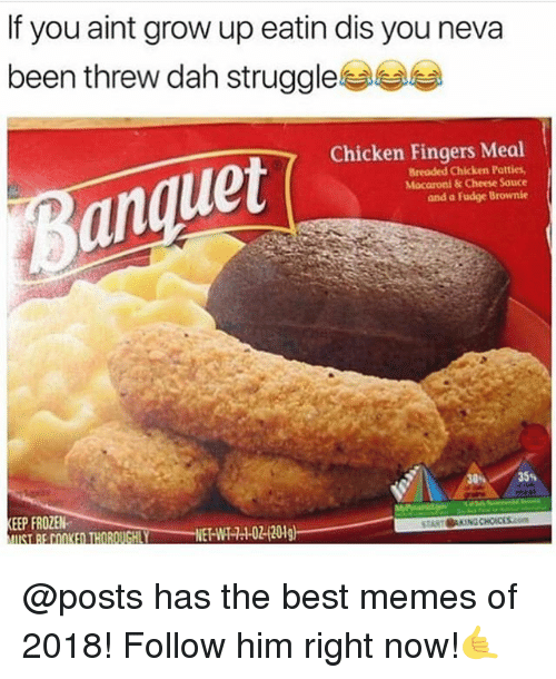 Frozen, Memes, and Struggle: If you aint grow up eatin dis you neva  been threw dah struggle부부  Chicken Fingers Meal  Breaded Chicken Patties,  Macaroni& Cheese Sauce  and a Fudge Brownie  an  30  35%  EP FROZEN  UST BE COOKED THOROUGHLY  02120 @posts has the best memes of 2018! Follow him right now!🤙