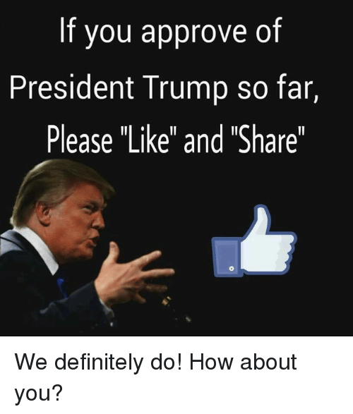 """Definitely, Trump, and How: If you approve of  President Trump so far,  Please """"Like"""" and """"Share"""" We definitely do! How about you?"""
