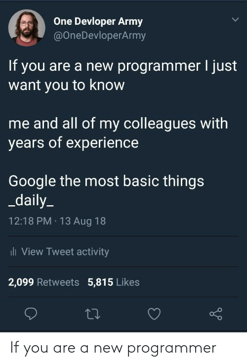 programmer: If you are a new programmer
