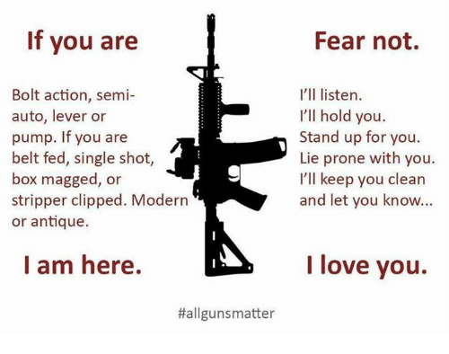 antiquated: If you are  Bolt action, semi-  auto, lever or  pump. If you are  belt fed, single shot  box magged, or  stripper clipped. Modern  or antique.  I am here.  Hallgunsmatter  Fear not.  I'll listen.  I'll hold you.  Stand up for you.  Lie prone with you.  I'll keep you clean  and let you know...  I love you.
