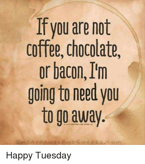 Memes, Chocolate, and Coffee: If you are not  coffee, chocolate,  or bacon, I'm  going to need you  to go away Happy Tuesday