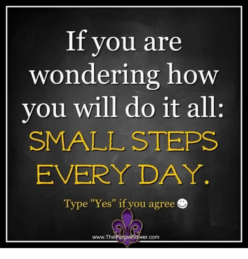 "You Are Wonderful: If you are  wondering how  you will do it all:  SMALL STEPS  EVERYDAY  Type ""Yes"" if you agree  www.The  Purple  Wer Com"