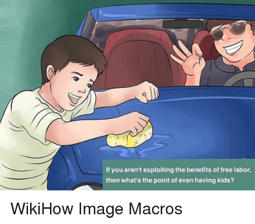 Free, Image, and Kids: If you aren't exploiting the benefits of free labor,  then what's the point of even having kids? WikiHow Image Macros