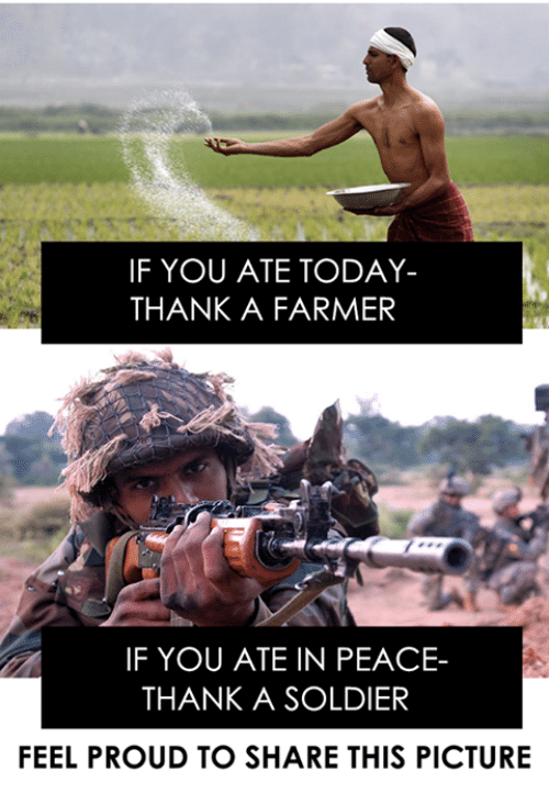 Memes, Soldiers, and Pictures: IF YOU ATE TODAY  THANK A FARMER  IF YOU ATE IN PEACE-  THANK A SOLDIER  FEEL PROUD TO SHARE THIS PICTURE