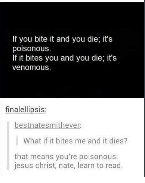 Jesus, Humans of Tumblr, and Jesus Christ: If you bite it and you die; it's  poisonous.  If it bites you and you die; it's  venomous  finalellipsis:  bestnatesmithever:  What if it bites me and it dies?  that means you're poisonous.  jesus christ, nate, learn to read