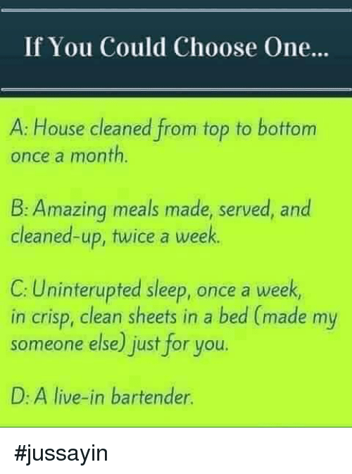 House Cleaning: If You Could Choose One  A: House cleaned from top to bottom  once a month  B: Amazing meals made, served, and  cleaned-up, twice a week  C: Uninterupted sleep, once a week  in crisp, clean sheets in a bed (made my  someone else) just for you.  D: A live-in bartender. #jussayin