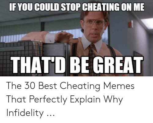 Cheating Girlfriend Meme: IF YOU COULD STOP CHEATING ON ME  THAT'D BE GREAT The 30 Best Cheating Memes That Perfectly Explain Why Infidelity ...