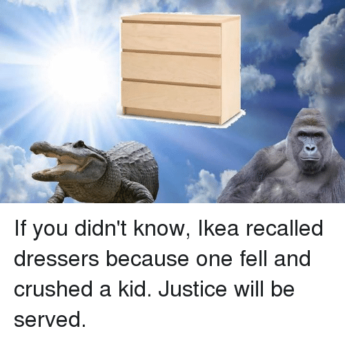 Dank Memes: If you didn't know, Ikea recalled dressers because one fell and crushed a kid. Justice will be served.