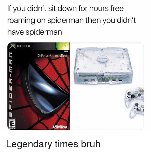 Bruh, Memes, and Free: If you didn't sit down for hours free  roaming on spiderman then you didn't  have spiderman  IG:PolarSaurusRe Legendary times bruh