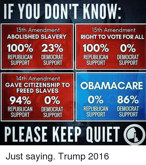 Memes, Obamacare, and Quiet: IF YOU DONIT KNOW  13th Amendment  15th Amendment  ABOLISHED SLAVERY  RIGHT TO VOTE FOR ALL  100% 23%  100% 0%  REPUBLICAN  DEMOCRAT  REPUBLICAN  DEMOCRAT  SUPPORT SUPPORT  SUPPORT  SUPPORT  14th Amendment  GAVE CITIZENSHIP TO  OBAMACARE  FREED SLAVES  94%  0% 0% 86%  REPUBLICAN  DEMOCRAT  REPUBLICAN  DEMOCRAT  SUPPORT  SUPPORT  SUPPORT  SUPPORT  PLEASE KEEP QUIET Just saying. Trump 2016