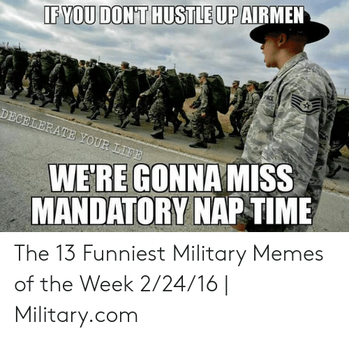 Funniest Military: IF YOU DON'T HUSTLE UP  DECELERATE YOUR LIFE  WE'RE GONNAMISS  MANDATORY NAPTIME The 13 Funniest Military Memes of the Week 2/24/16 | Military.com
