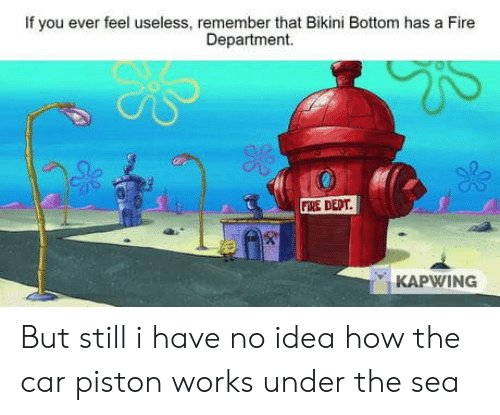 Bikini Bottom: If you ever feel useless, remember that Bikini Bottom has a Fire  Department.  FIRE DEDT  KAPWING But still i have no idea how the car piston works under the sea