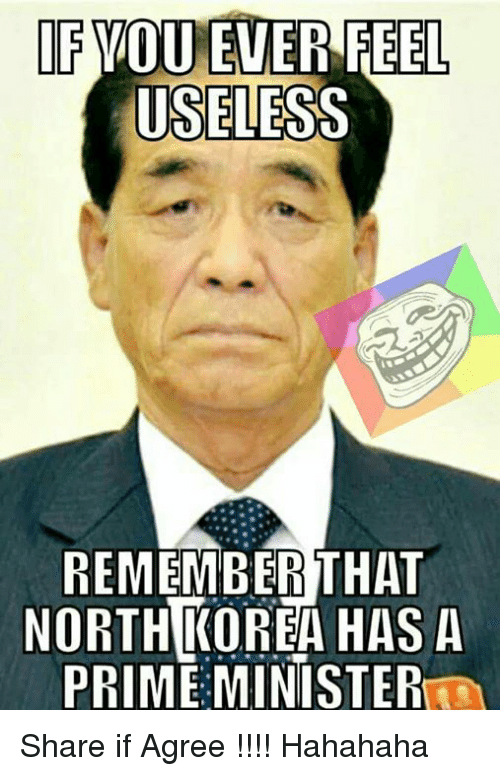 Memes, 🤖, and Remember: IF YOU EVER FEEL  USELESS  REMEMBER THAT  NORTH KORBAHASA  PRIME MINISTER Share if Agree !!!!  Hahahaha