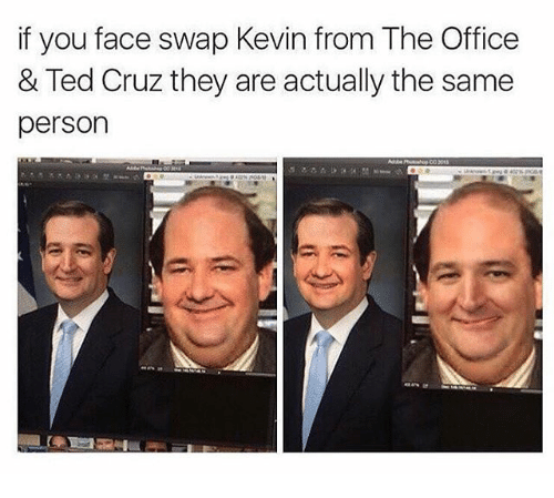 Funny, Ted, and Ted Cruz: if you face swap Kevin from The Office  & Ted Cruz they are actually the same  person