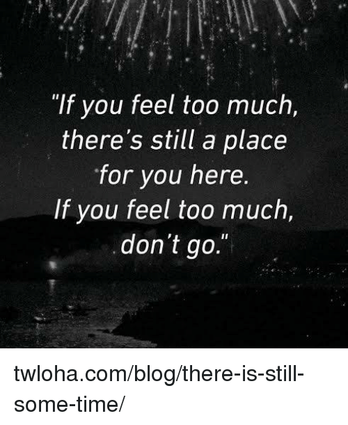 """Memes, Blog, and 🤖: """"If you feel too much,  there's still a place  for you here.  If you feel too much,  don't go. twloha.com/blog/there-is-still-some-time/"""