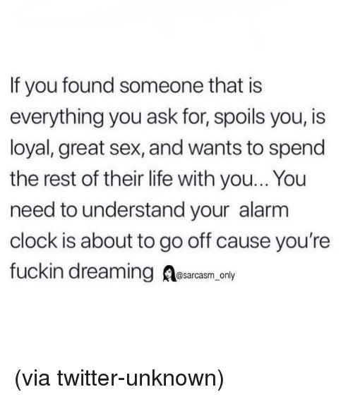 Alarm Clock: If you found someone that is  everything you ask for, spoils you, is  loyal, great sex, and wants to spend  the rest of their life with you... You  need to understand your alarm  clock is about to go off cause you're  fuckin dreaming Aesarcasm, onl (via twitter-unknown)