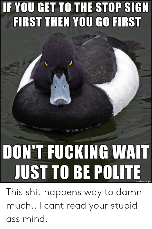 Your Stupid: IF YOU GET TO THE STOP SIGN  FIRST THEN YOU GO FIRST  DON'T FUCKING WAIT  JUST TO BE POLITE  made on imgur This shit happens way to damn much.. I cant read your stupid ass mind.