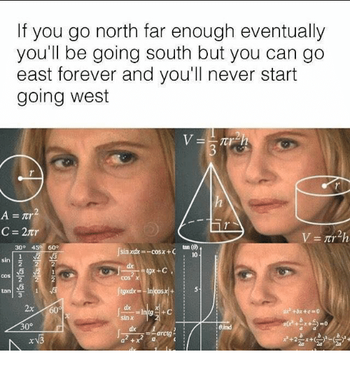 Memes, Forever, and Never: If you go north far enough eventually  you'll be going south but you can go  east forever and you'll never start  going west  tan (7)  10  30° 45 60  j  sin xdx=-cosx-c  sin 1호 기  dx  cos x  3  2x 60  dx  sin x  0°  a + x