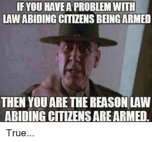 Memes, True, and Reason: IF YOU HAVE A PROBLEM WITH  LAW ABIDING CITIZENS BEINGARMED  THEN YOU ARE THE REASON LAW  ABIDING CITIZENS ARE ARMED True...
