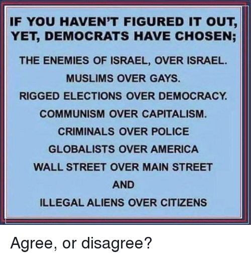 America, Memes, and Police: IF YOU HAVEN'T FIGURED IT OUT,  YET, DEMOCRATS HAVE CHOSEN;  THE ENEMIES OF ISRAEL, OVER ISRAEL.  MUSLIMS OVER GAYS  RIGGED ELECTIONS OVER DEMOCRACY  COMMUNISM OVER CAPITALISM  CRIMINALS OVER POLICE  GLOBALISTS OVER AMERICA  WALL STREET OVER MAIN STREET  AND  ILLEGAL ALIENS OVER CITIZENS Agree, or disagree?