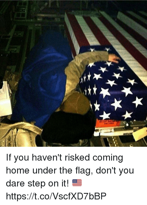 Memes, Home, and Coming Home: If you haven't risked coming home under the flag, don't you dare step on it! 🇺🇸 https://t.co/VscfXD7bBP