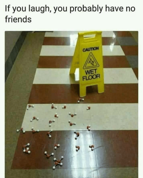 no friends: If you laugh, you probably have no  friends  CAUTION  WET  FLOOR