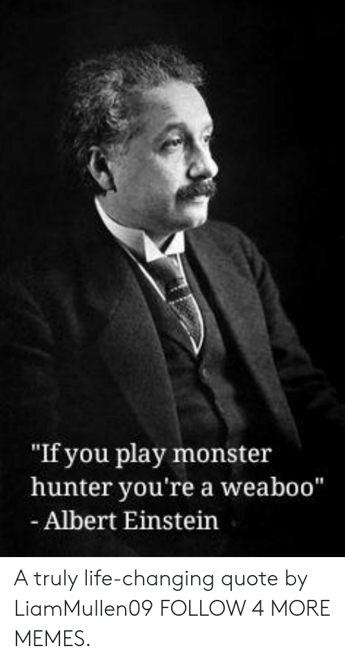 """monster hunter: """"If you play monster  hunter you're a weaboo""""  - Albert Einstein A truly life-changing quote by LiamMullen09 FOLLOW 4 MORE MEMES."""