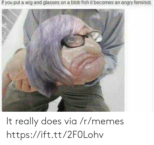 blob: If you put a wig and glasses on a blob fish it becomes an angry teminist It really does via /r/memes https://ift.tt/2F0Lohv