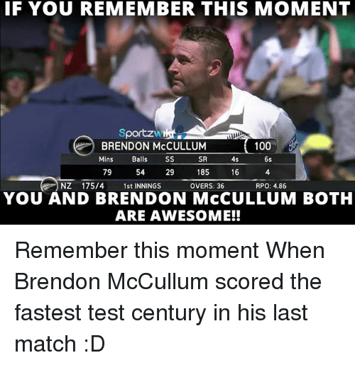 rpo: IF YOU REMEMBER THIS MOMENT  portzw  100  Mins  Balls  SS  SR  4s  6s  79  54  29  185  16  NZ 175/4  1st INNINGS  OVERS: 36  RPO: 4.86  YOU AND BRENDON McCULLUM BOOTH  ARE AWESOME!! Remember this moment  When Brendon McCullum scored the fastest test century in his last match :D