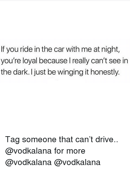 Memes, Drive, and Tag Someone: If you ride in the car with me at night,  you're loyal because l really can't see in  the dark. I just be winging it honestly. Tag someone that can't drive.. @vodkalana for more @vodkalana @vodkalana