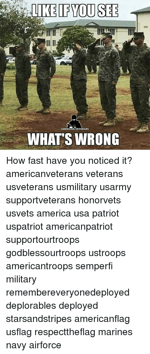 Whats Wrong: IF YOU SEE  AMERICAN VETERANS  WHATS WRONG How fast have you noticed it? americanveterans veterans usveterans usmilitary usarmy supportveterans honorvets usvets america usa patriot uspatriot americanpatriot supportourtroops godblessourtroops ustroops americantroops semperfi military remembereveryonedeployed deplorables deployed starsandstripes americanflag usflag respecttheflag marines navy airforce