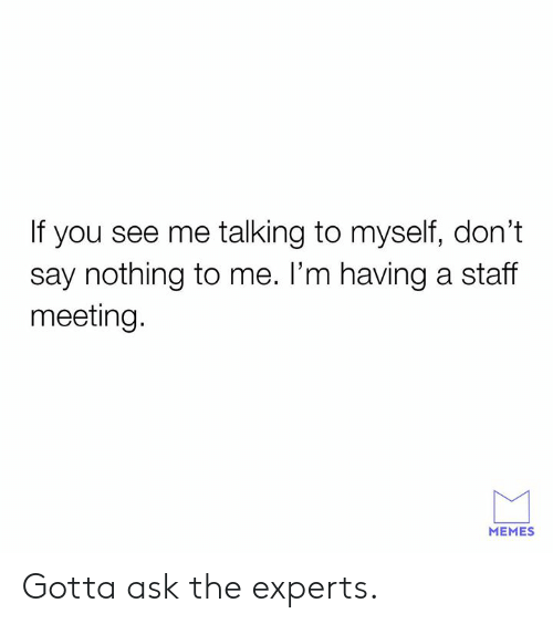 Staff Meeting: If you see me talking to myself, don't  say nothing to me. l'm having a staff  meeting.  MEMES Gotta ask the experts.